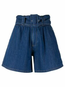 MSGM high-waisted belted shorts - Blue
