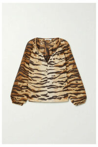 Mes Demoiselles - Birmania Tiger-print Cotton-voile Blouse - Brown