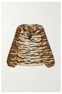 Mes Demoiselles - Birmania Tiger-print Cotton-voile Blouse - Brown