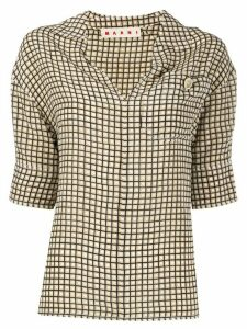 Marni 3/4 sleeves grid shirt - NEUTRALS