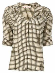 Marni 3/4 sleeves grid shirt - NEUTRALS