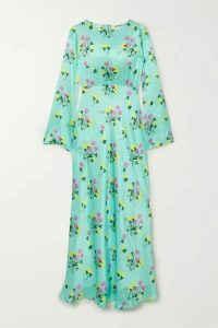 BERNADETTE - Jane Floral-print Silk-satin Maxi Dress - Turquoise