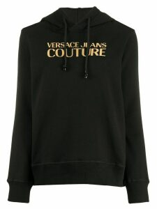 Versace Jeans Couture mirrored-logo hooded sweatshirt - Black