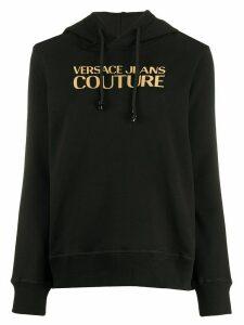 Versace Jeans Couture mirrored-logo hooded sweatshirt - Black