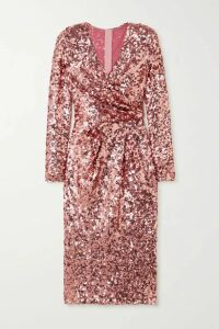 Dolce & Gabbana - Wrap-effect Sequined Tulle Midi Dress - Pink