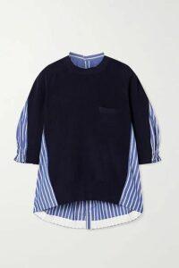 Sacai - Oversized Paneled Striped Cotton-poplin And Ribbed-knit Top - Navy