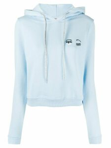 Chiara Ferragni embroidered signature wink hoodie - Blue