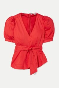 Veronica Beard - Aslan Belted Cotton-blend Poplin Peplum Top - Tomato red