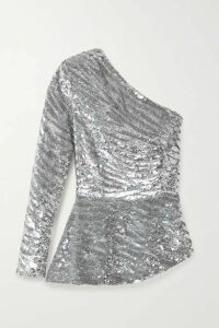Retrofête - Norma One-sleeve Sequined Satin Blouse - Silver