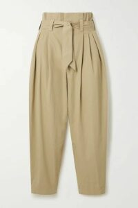 Mes Demoiselles - Kala Belted Cropped Metallic-trimmed Cotton-canvas Tapered Pants - Beige