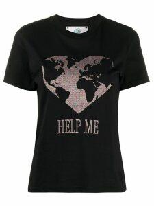 Alberta Ferretti slogan heart print T-shirt - Black