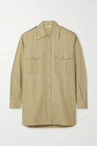 Mes Demoiselles - Karagol Metallic-trimmed Cotton-canvas Shirt - Beige