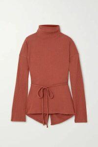 Baserange - + Net Sustain Wayn Wrap-effect Ribbed Organic Cotton-fleece Top - Brown