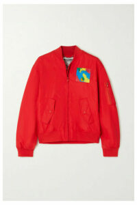 Moschino - Appliquéd Shell Bomber Jacket - Red