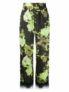 MSGM floral print fringe trim trousers - Green