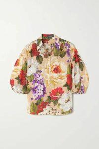 Dolce & Gabbana - Floral-print Silk Blouse - Beige