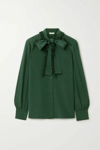 Tory Burch - Pussy-bow Fringed Silk Crepe De Chine Shirt - Emerald
