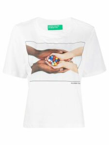 Benetton graphic print boxy T-shirt - White