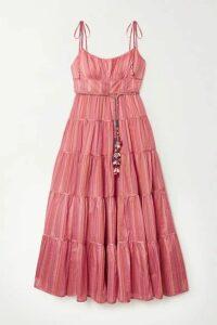 Zimmermann - Bonita Embellished Striped Tiered Cotton-voile Midi Dress - Pink