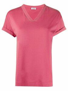 Brunello Cucinelli bead-detail v-neck T-shirt - PINK