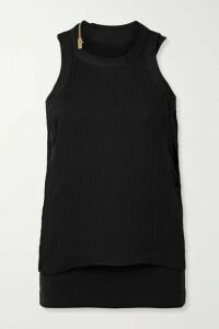 Sacai - Layered Plissé-chiffon And Ribbed Cotton-blend Jersey Tank - Black