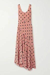 Tory Burch - Embellished Draped Polka-dot Silk-georgette Maxi Dress - Antique rose