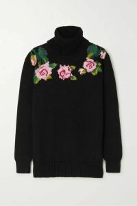 Dolce & Gabbana - Intarsia Wool-blend Turtleneck Sweater - Black