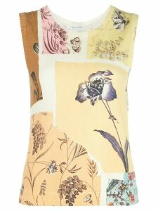 Oscar de la Renta patchwork floral vest top - Yellow