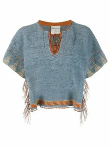 Forte Forte cropped Navajo-knit top - Blue