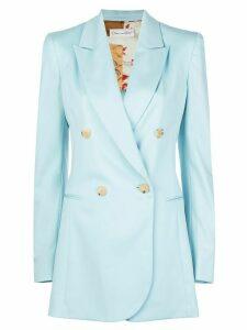 Oscar de la Renta welt pockets double-breasted blazer - Blue