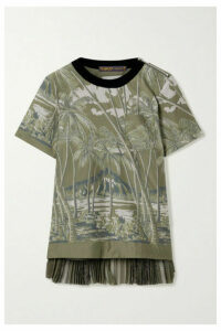 Sacai - Velvet-trimmed Pleated Printed Voile And Chiffon Top - Army green