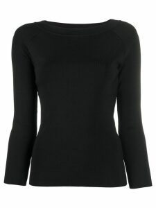 Emporio Armani fitted crew-neck jumper - Black
