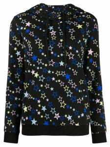 Love Moschino star print drawstring hoodie - Black