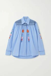 Prada - Smocked Embroidered Cotton-poplin Blouse - Blue