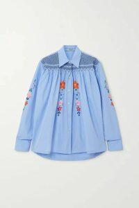 Prada - Smocked Embroidered Cotton-poplin Blouse - Blue