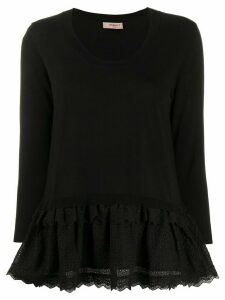 Twin-Set broderie anglaise trim jumper - Black