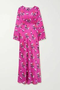 BERNADETTE - Jane Floral-print Silk-satin Maxi Dress - Fuchsia