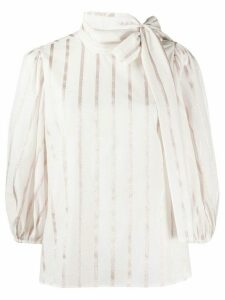 Red Valentino striped pussy bow blouse - PINK