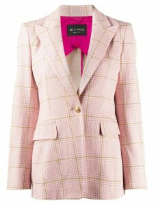 Etro checked print single breasted blazer - PINK