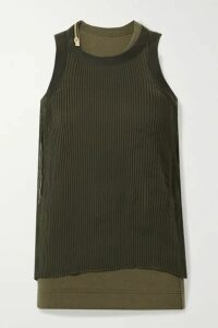 Sacai - Layered Plissé-chiffon And Ribbed Cotton-blend Jersey Tank - Dark green