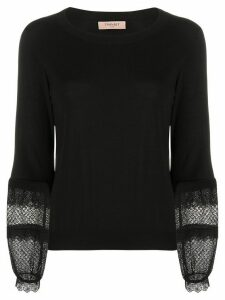 Twin-Set broderie anglaise sleeve jumper - Black