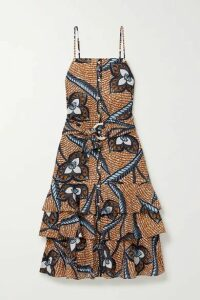 Figue - Marina Shell-embellished Printed Cotton-voile Midi Dress - Tan