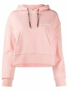 Balmain logo detail cropped hoodie - PINK