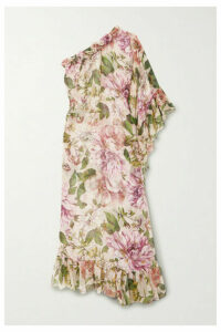 Dolce & Gabbana - One-sleeve Ruffled Floral-print Silk-chiffon Maxi Dress - Pink
