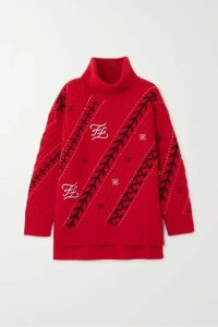 Fendi - Embroidered Cable-knit Wool And Cashmere-blend Sweater - IT38