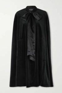 Dolce & Gabbana - Pussy-bow Satin-trimmed Cotton And Silk-blend Velvet Cape - Black