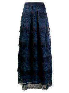 Alberta Ferretti fringed maxi skirt - Blue