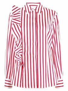 MSGM striped ruffle sleeve shirt - White