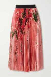 Givenchy - Pleated Floral-print Satin Midi Skirt - Pink