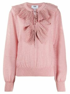 MSGM ruffle-neck metallic jumper - PINK